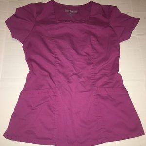 Grey's Anatomy Pink Scrub Set Sz Small EKG Detail
